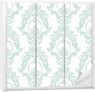 Kaststicker Vector vintage damast patroon ornament keizerlijke stijl. sierlijk bloemenelement voor stof, textiel, ontwerp, trouwkaarten, wenskaarten, behang. opaal blauwe kleur