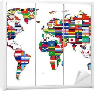 Kaststicker Wereldkaart met vlaggen
