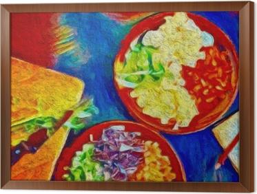 Digitaalinen värikäs maalaus. juliste ruoan kanssa, joka sopii koristekasveihin tai ravintolaan. Kehystetty kangaskuva