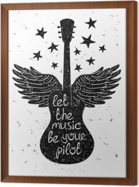 Käsin piirretty musikaali kuvitus siluetteja kitaraa. Kehystetty kangaskuva