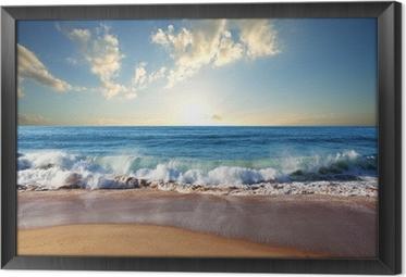 Meren auringonlasku Kehystetty Kangas
