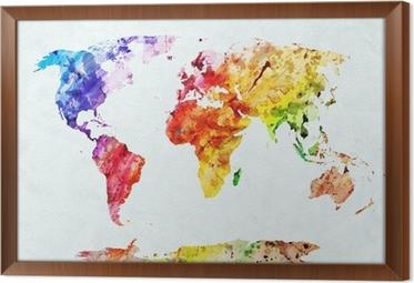 Vesiväri maailman kartta Kehystetty Kangas
