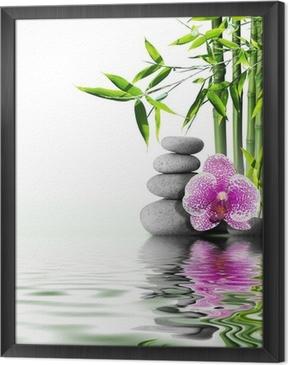 Violetti orkidea kukka loppuun bambusta veteen Kehystetty Kangas