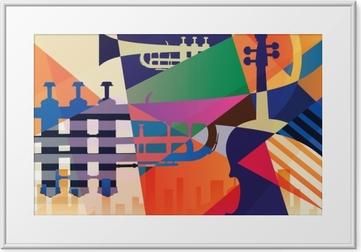 Abstrakti jazz-juliste, musiikkitiedosto Kehystetty kuva