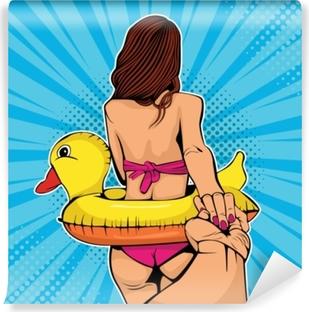 Kendinden Yapışkanlı Duvar Resmi Beni takip et kavramı. kız bikini lider adam elini tutarak. aşık tropik sahilde tatil yaz seyahat yürüyüş aşık. pop art retro çizgi roman tarzı vektör çizim
