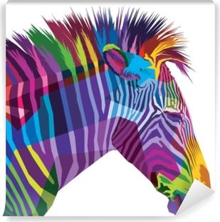 Kendinden Yapışkanlı Duvar Resmi Beyaz arka plan üzerinde izole renkli zebra