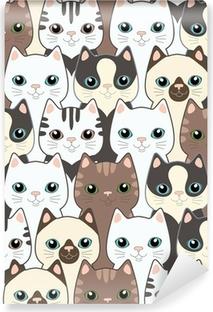 Kendinden Yapışkanlı Duvar Resmi Komik karikatür kedi. Seamless pattern