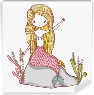 Kendinden Yapışkanlı Duvar Resmi Küçük deniz kızı çizgi film