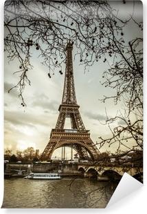Kendinden Yapışkanlı Duvar Resmi Parigi Tour Eiffel Tramonto