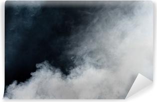 Kendinden Yapışkanlı Duvar Resmi Siyah zemin üzerine beyaz duman. İzole.