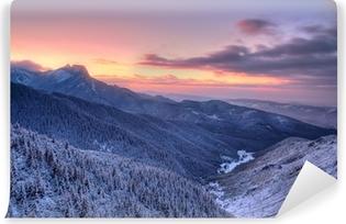 Kendinden Yapışkanlı Duvar Resmi Zachód słońca nad Tatrami