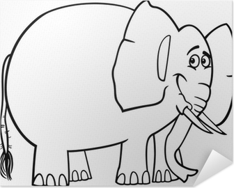 Boyama Kitabi Icin Sevimli Fil Karikatur Tuval Baski Pixers