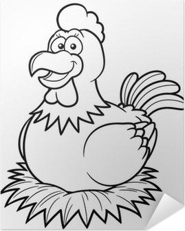 Boyama Kitabinda Bir Yuva Uzerinde Tavuk Vector Illustration
