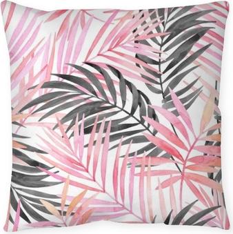 Kissenbezug Aquarell rosa farbige und grafische Palmblattmalerei.