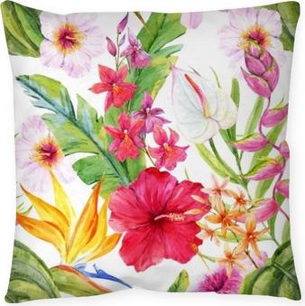 Kissenbezug Aquarell tropischen Blumenmuster
