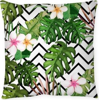 Kissenbezug Exotischer Sommerdruck. nahtloses Muster mit tropischen Blättern und Blumen. Hawaii, Miami style.Vector Abbildung