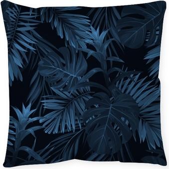 e02c15ed80a0f9 Kissenbezug Exotischer tropischer vrctor Hintergrund mit hawaiischen  Anlagen und Blumen. nahtloses tropisches Muster Indigos mit