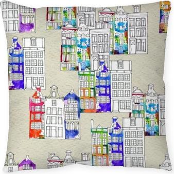 Kissenbezug Nahtlose Muster Eith Aquarell Amsterdam Häuser