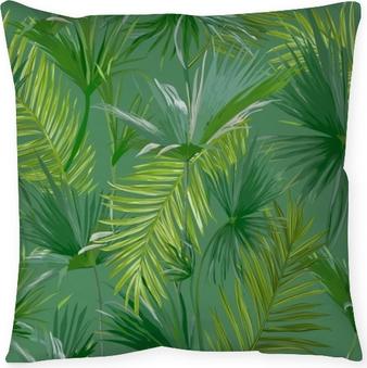 Kissenbezug Tropische Palmenblätter, Dschungel Blätter nahtloser Vektor Blumenmuster Hintergrund