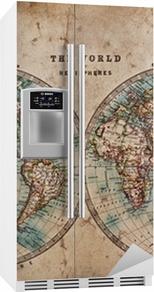 Gamle verdenskart i halvkule Kjøleskapsklistremerke