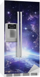 Jordutsikt fra rom om natten - USA Kjøleskapsklistremerke