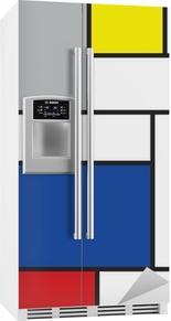 Mondrian inspirert kunst Kjøleskapsklistremerke