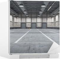 Stort moderne lagerhus med noen varer Kjøleskapsklistremerke