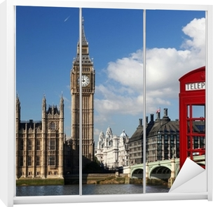 Klesskapklistremerke Big Ben med rød telefonboks i London, England