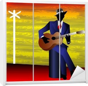 Klesskapklistremerke Blues Guitarist på korsveien, Vector Background for Conce
