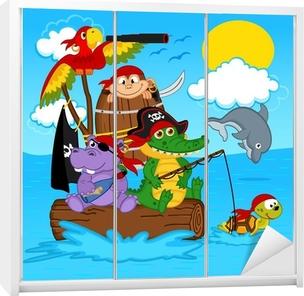 Klesskapklistremerke Dyr pirater - vektor illustrasjon, eps