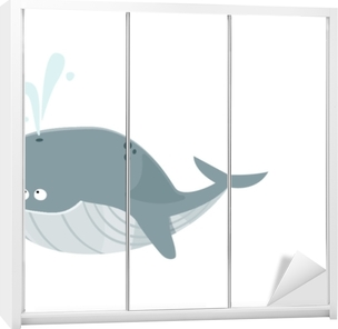 Klesskapklistremerke Grande baleine bleue