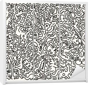 Klesskapklistremerke Hånd trukket vektor illustrasjon av doodle morsomt dyr, illustrator linjeredskaper tegning, flat design