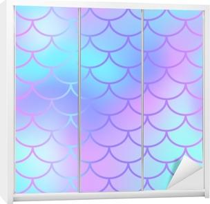 5e0eec86 Tapet Kule blå fisk skala mønster vektor tekstur. havfrue sømløs mønster  fliser. • Pixers® - Vi lever for forandring