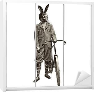 Klesskapklistremerke Lapin à vélo