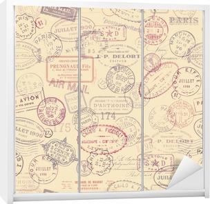 Klesskapklistremerke Porto tema bakgrunn med vintage frimerker (flislegging)