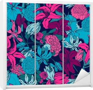 Klesskapklistremerke Sømløs mønster med lilium, ylang, roser, nellike blomster. fargerik vektorillustrasjon. print for hjem tekstil og klær, stoff, tekstil