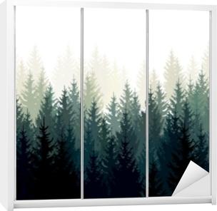 Klesskapklistremerke Vektor landskap med grønne silhuetter av nåletrær i tåken