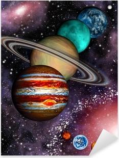 9 planeter af solsystemet, asteroidebånd og spiralgalakse. Pixerstick klistermærke