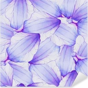 Akvarel sømløs mønster med lilla blomsterblad Pixerstick klistermærke