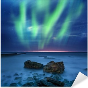 Aurora borealis over havet Pixerstick klistermærke
