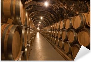 Barriles de vino en la bodega Pixerstick klistermærke