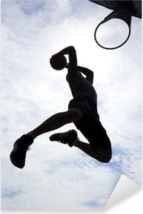 Basketballspiller slam dunk silhuet Pixerstick klistermærke