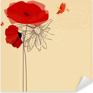 Blomster invitation, valmuer og sommerfugl vektor Pixerstick klistermærke