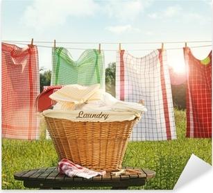 Bomuld håndklæder tørring på tøjlinjen Pixerstick klistermærke