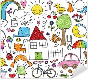 Børns doodle Pixerstick klistermærke