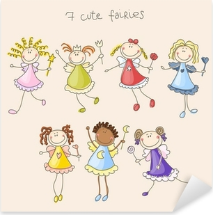 Cute fairies illustration Pixerstick klistermærke