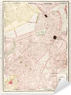Detaljeret Antik Farve Street By Kort Over Boston Massachusetts