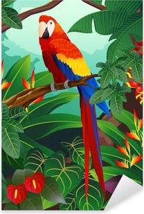 Detaljeret Macaw Bird Vector Pixerstick klistermærke