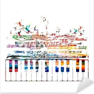 Farverig musik baggrund Pixerstick klistermærke