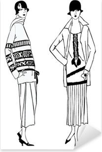 Flapper piger (1920-stil): Retro mode fest Pixerstick klistermærke